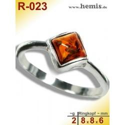 R-023 Amber Ring, silver-925, cognac, XS, modern, angular
