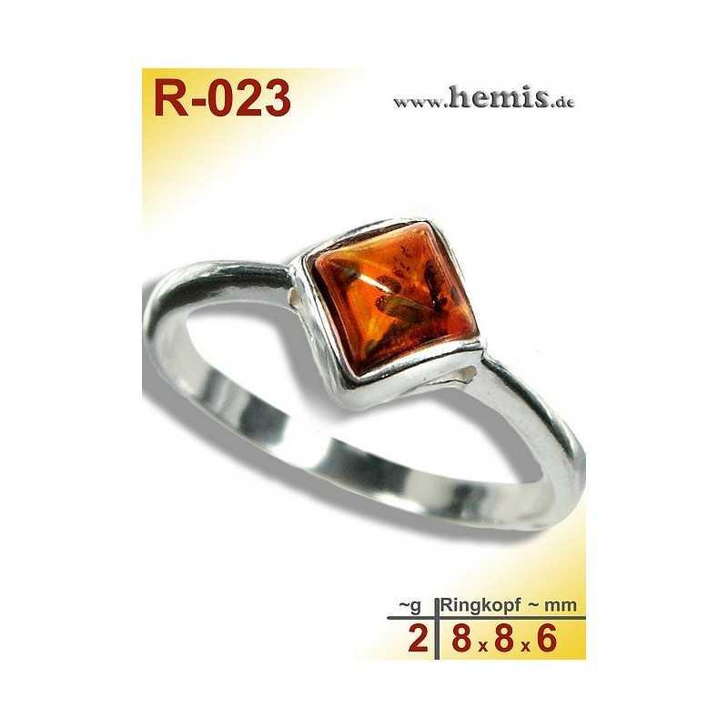 R-023 Bernstein-Ring Silber-925, cognac, XS, modern, eckig