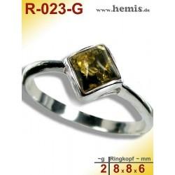 R-023-G Bernstein-Ring Silber-925, grün, XS, modern, eckig