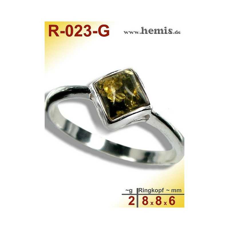 R-023-G Amber Ring, silver-925, green, XS, modern, angular