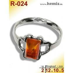 R-024 Amber Ring, silver-925, cognac, XS, modern, angular