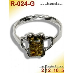 R-024-G Amber Ring, silver-925, green, XS, modern, angular