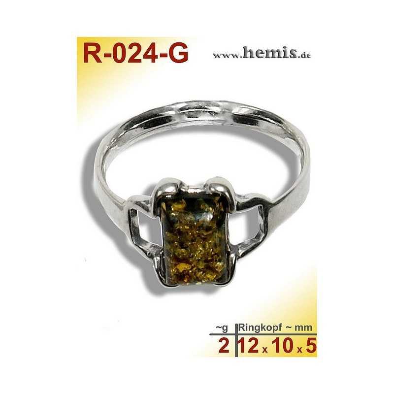 R-024-G Bernstein-Ring Silber-925, grün, XS, modern, eckig