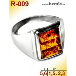 R-009 Amber Ring, silver-925, cognac, M, modern, angular