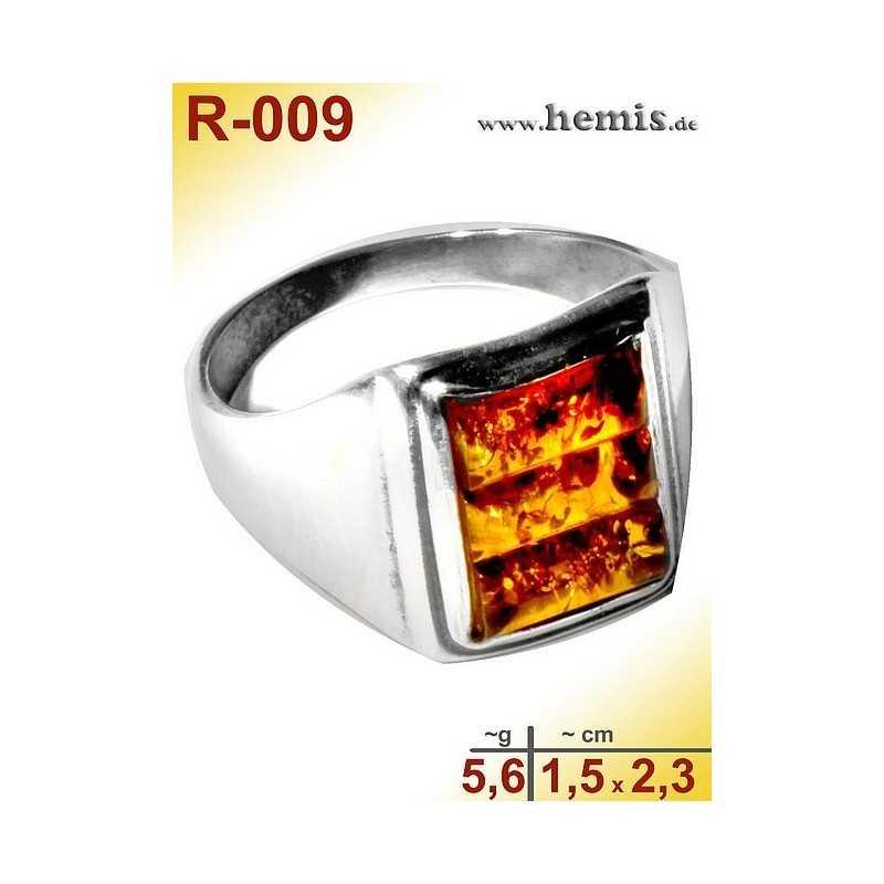 R-009 Bernstein-Ring Silber-925, cognac, M, modern, eckig