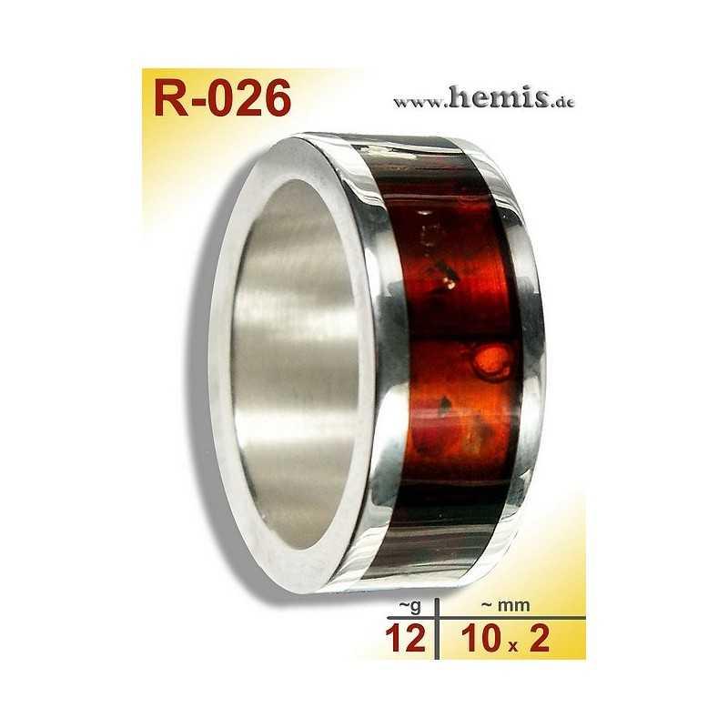 R-026 Bernstein-Ring Silber-925, rot, M, modern, breit