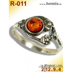 R-011 Amber Ring, silver-925, cognac, S, old silver