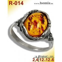 R-014 Amber Ring, silver-925, cognac, S, old silver