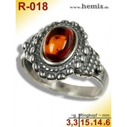 R-018 Bernstein-Ring Silber-925, cognac, S, Altsilber