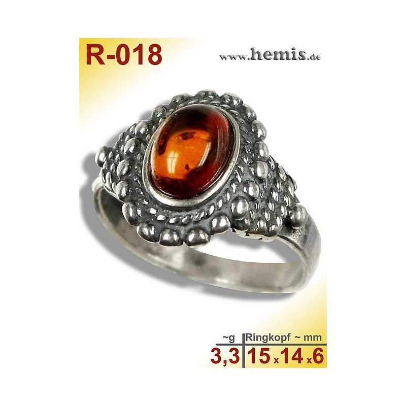 R-018 Amber Ring, silver-925, cognac, S, old silver