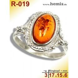 R-019 Bernstein-Ring Silber-925, cognac, S, oval