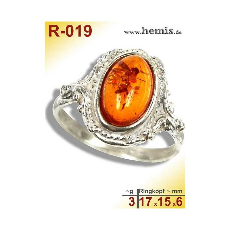 R-019 Amber Ring, silver-925, cognac, S, oval