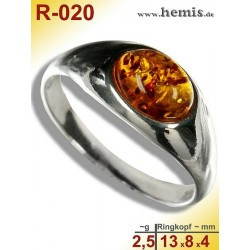 R-020 Amber Ring, silver-925, cognac, S, modern, flat