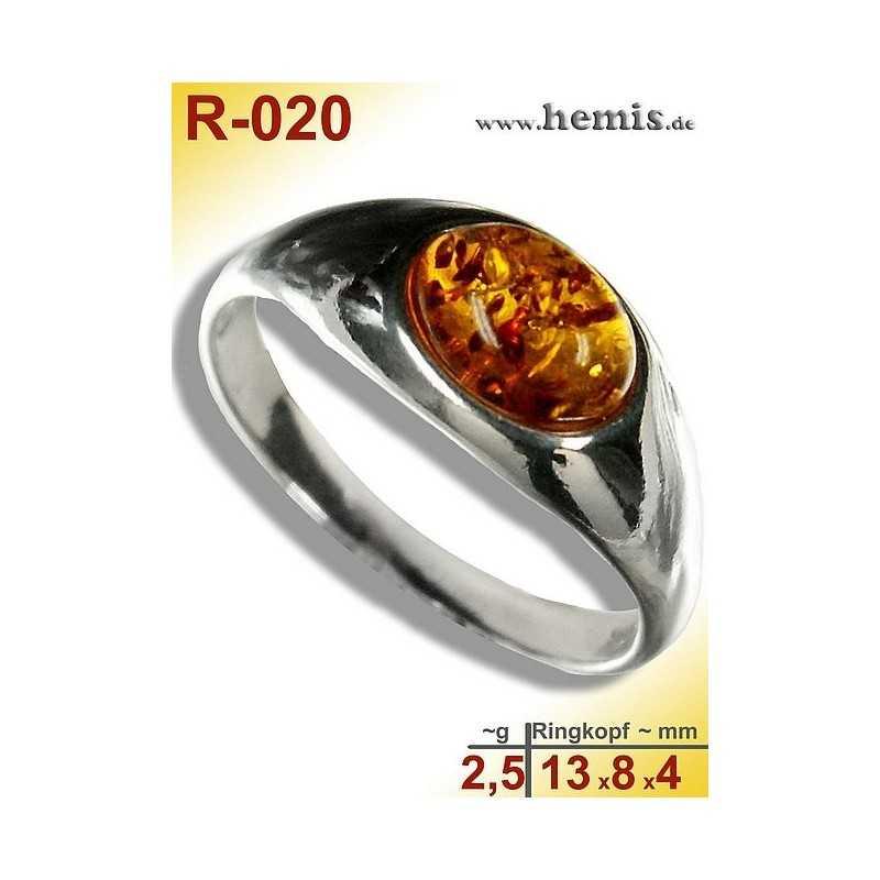 R-020 Bernstein-Ring Silber-925, cognac, S, modern, glatt