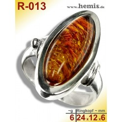 R-013 Amber Ring, silver-925, cognac, M, modern, flat