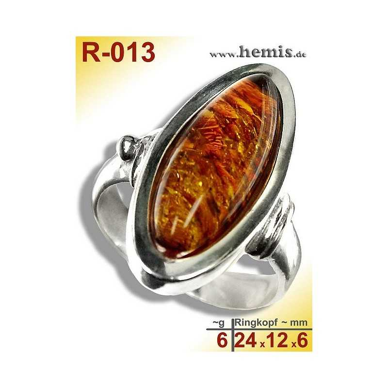 R-013 Bernstein-Ring Silber-925, cognac, M, modern, glatt