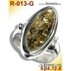 R-013-G Amber Ring, silver-925, green, M, modern, flat