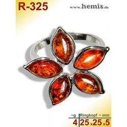 R-325 Bernstein-Ring Silber-925, cognac, M, Blume, modern,