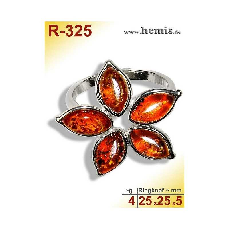 R-325 Amber Ring, silver-925, cognac, M, flauer, modern,