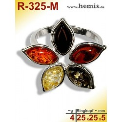 R-325-M Amber Ring, silver-925, multicolor, M, flauer, modern,