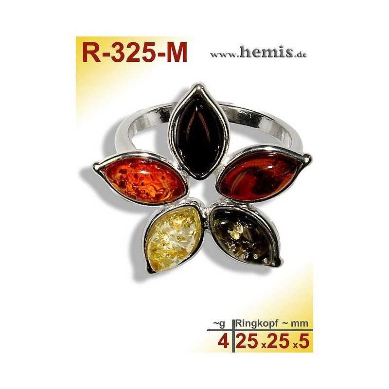 R-325-M Bernstein-Ring Silber-925, multicolor, M, Blume, modern,