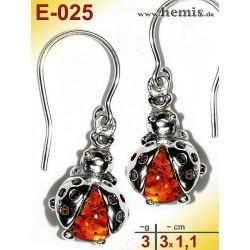E-025 Amber Earrings, silver-925, cognac, S, Ladybug, modern