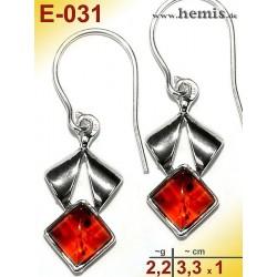 E-031 Amber Earrings, silver-925, cognac, S, modern