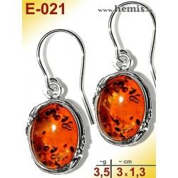 E-021 Amber Earrings, silver-925, cognac, M, oval, rustic, Leaf