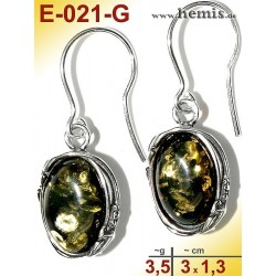 E-021-G Amber Earrings, silver-925, green, M, oval, rustic, Leaf