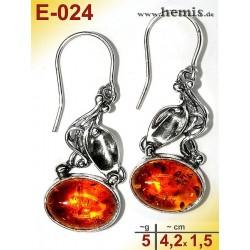 E-024 Amber Earrings, silver-925, cognac, M, rustic, Leaf Decor,