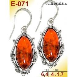 E-071 Bernstein-Ohrringe Silber-925, cognac, M, rustikal, Blatt-