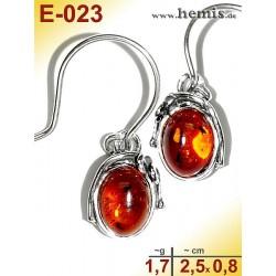 E-023 Amber Earrings, silver-925, cognac, S, rustic, Leaf Decor,