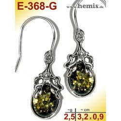 E-368-G Bernstein-Ohrringe Silber-925, grün, S, rustikal, Blatt-