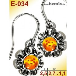 E-034 Amber Earrings, silver-925, cognac, flower, S, modern