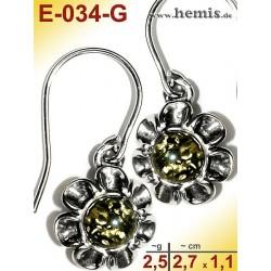 E-034-G Amber Earrings, silver-925, green, flower, S, modern