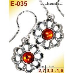 E-035 Amber Earrings, silver-925, cognac, flower, S, modern