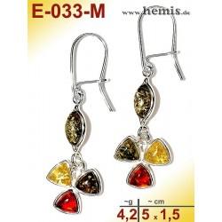 E-033 -M Amber Earrings, silver-925, multicolor, flower, M, mode