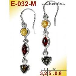 E-032-M Amber Earrings, silver-925, multicolor, S, modern, playf