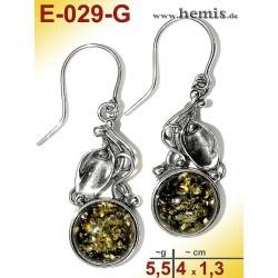 E-029-G Amber Earrings, silver-925, green, M, rustic, Leaf Decor
