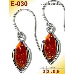 E-030 Amber Earrings, silver-925, cognac, simple, S, modern, ele