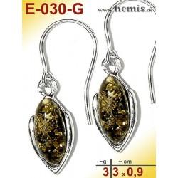 E-030-G Amber Earrings, silver-925, green, simple, S, modern, el