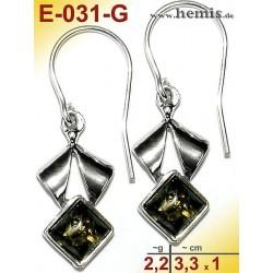E-031-G Amber Earrings, silver-925, green, simple, S, modern, el