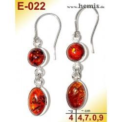 E-022 Amber Earrings, silver-925, cognac, M, elegant, modern, si