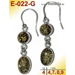 E-022-G Amber Earrings, silver-925, green, M, elegant, modern, s
