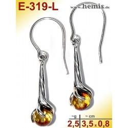 E-319-L Bernstein-Ohrringe Silber-925, gelb, S, elegant, modern,