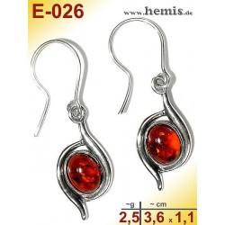 E-026 Amber Earrings, silver-925, cognac, S, elegant, modern, si