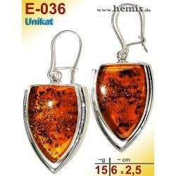 E-036 Amber Earrings, silver-925, cognac, XL, elegant, modern, s