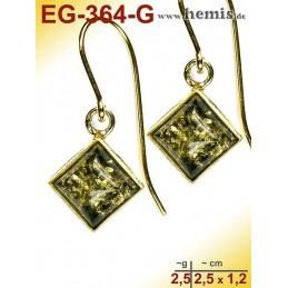 EG-364-G Bernstein-Ohrringe Vergoldet, gruen