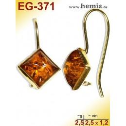 EG-371 Bernstein-Ohrringe Vergoldet, cognacfarbe