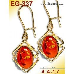 EG-337 Bernstein-Ohrringe Vergoldet, cognacfarbe